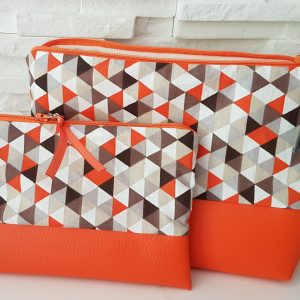 Vanity et pochette – orange triangle